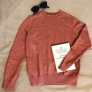 COS salmon long sleeved cotton jumper, XS